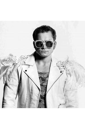 Taron Egerton Rocketman White Leather Jacket